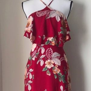 NWT LF Here Comes the Sun Red Floral Maxi XS